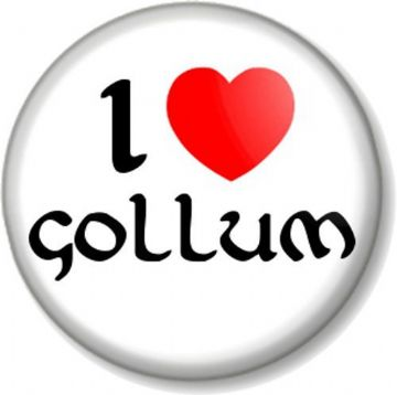 I Love / Heart GOLLUM Pin Button Badge The Hobbit Lord Of Rings JRR Tolkein